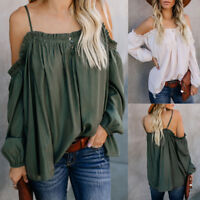 Fashion Womens Casual Off Shoulder Long Sleeve Ladies Loose Tops T-Shirt Blouse