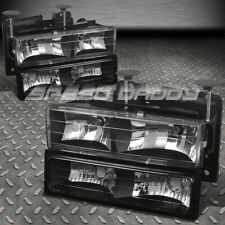 BLACK CRYSTAL HEADLIGHTS+BUMPER LAMPS+BULBS FOR 88-98 CHEVY C10 C/K PICKUP TURCK