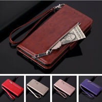 For iPhone 11 Pro Max XR X 8 7 6s Real Leather Wallet Case Zip Card Pocket Cover