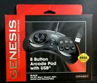 Sega Genesis 8 Button Arcade Pad With USB Black Retro Bit Wired