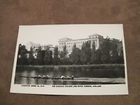 Real photo postcard -- Rowing on River Torrens past Railway Station - Adelaide