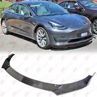 Carbon Fiber Print Front Splitter Lip Flat Plate Diffuser Kit For Tesla Model 3