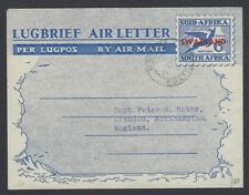 Swaziland aerogramme ovpt on South Africa 6d used to England