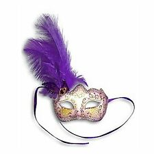Purple Feather Glitter Mask Venetian Style Masquerade Ball Party Face Eye Mask.