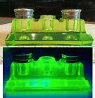 RARE Vintage Double Inkwell Pen Holder Green Uranium Glass Vaseline Beautiful!