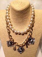 Statement Pearl Gold Chain Necklace Collar Bib Crystal Rhinestone