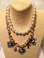 Statement Pearl Gold Chain Necklace Collar Bib Crystal Rhinestone