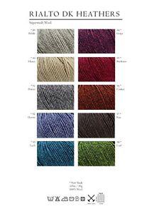 Debbie Bliss Rialto DK Heathers - 1 x 50g -100% Extra Fine Merino Wool