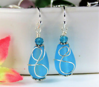 SEA GLASS Teardrop Caribbean Blue Loop Swirl SILVER Dangle Earrings USA MADE
