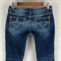 REROCK Express embellished womens size 4 stretch med wash low rise bootcut jeans