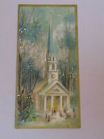 Christmas Greeting Card Old Vintage Gold Glitter Church Slim Jims Hallmark USA