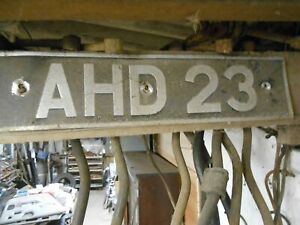 VINTAGE OLD CAR NUMBER PLATE AHD 23