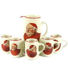 """Vintage """"Red Monk"""" Decal Beer Tankard/Pitcher and Five Mugs by Hall"""