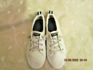 SPERRY TOP-SIDER WHITE CANVAS  WOMEN'S SIZE 7.5 BOAT SHOE SLIP-ON LEATHER TIES