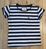 Abercrombie & Fitch Women's T Shirt Blue White Striped Large S/S Cotton Blend