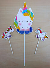 Unicorn 3pc Set Cake Toppers Magical Birthday Colourful Fun DIY With Stickers