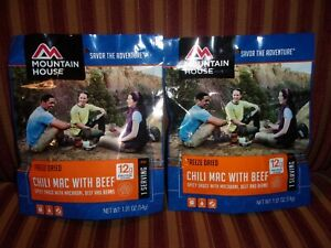 Mountain House Chili Mac with Beef - 2 Single Serving Packages Best By Feb 2028
