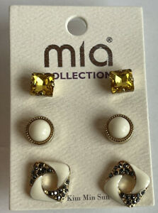 Mia Collection SPARKLE Earrings! 3 Pairs For The Price of 1 Yellow CZ NWT