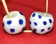2 Antique Venetian White Lampwork 'SKUNK' Beads With Blue Eye Trail Decoration