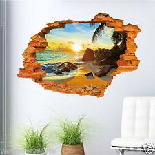 Wandtattoo Wandaufkleber 3D Fenster Strand Sonne Meer Wohnzimmer Schlafzimmer