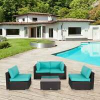 5-Piece Outdoor Patio Furniture Set Rattan Wicker Sectional Sofa Turquoise