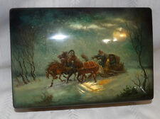 Russian Fedoskino Lacquered Box Hand Painted Horse Drawn Sleigh Artist Signed
