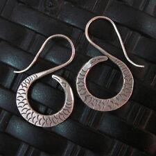 Silver Earrings Hill Tribe Handcraft Ethnic Spiral Snake Reptile er047