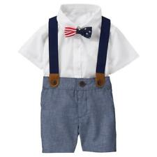 BABY BOY DRESS UP SUSPENDERS OUTFIT CLOTHES GYMBOREE CHAMBRAY AMERICANA 0-3 NEW