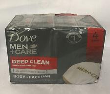 Dove Men Care Deep Clean Purifying Grains Moisturizing Body Face 4 Pack Bars