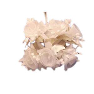 36  white wedding bridal organza flower with green leaf