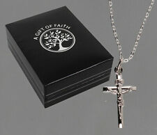 Sterling Silver 925 Crucifix Pendant Necklace Women Men Jewellery Gift