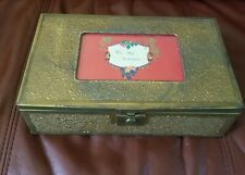 Vintage Wood~Metal Mirrored Victorian Valentine Jewelry Lock Box