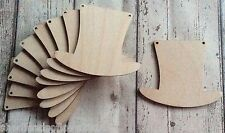 NEW 10 laser cut birch plywood top hats Mad Hatters Tea Party or wedding