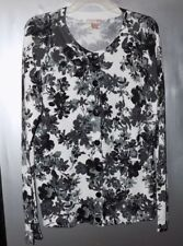 White Stag Black & White Floral Rayon Blend Cardigan - Misses Size L - NWOT