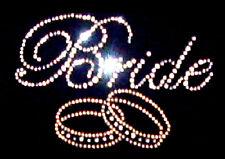 BRIDE WEDDING RHINESTONE  DIAMANTE IRON ON T SHIRT MOTIF DESIGN