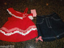 NWT 18 mos Nanette 2 piece outfit red eyelet top, denim shorts red white accents