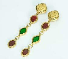 CHANEL 1970's Gold Tone Red Green Gripoix Earrings