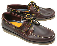 TIMBERLAND Men's 7.5 Medium CLASSIC 2 EYE BROWN BOAT SHOE in root beer brown NIB