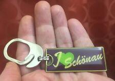 Vintage 1980s I LOVE SCHÖNAU Germany KEYCHAIN Key Chain Fob ENAMEL Pichl AUSTRIA
