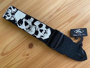 LM Guitar Strap, Skulls Design, Poly Webbing, Leather Ends, USA
