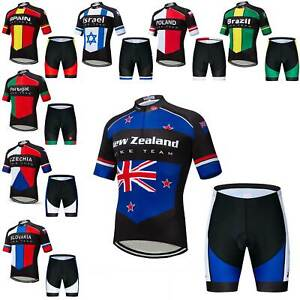 2020 Countries Cycling Team Kit Men's Reflective Cycle Jersey Shorts Set S-5XL