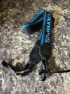 Genuine Vintage Olympus OM Camera Strap - Black/Blue
