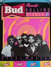 """THE  ROLLING  STONES        """"STEEL  WHEELS  POSTER / BUDWEISER""""    1989"""