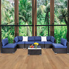Patio Wicker Furniture Outdoor 7pcs Rattan Sofa Garden Conversation Table Set