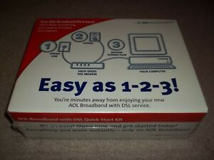 New Sealed Vintage Rare AOL Broadband w/ DSL Quick Kit Modem 2002 Action-Tec NIB