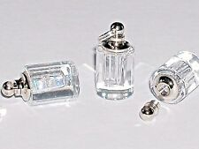 1 facet Clear Cylinder vial necklace pendant sm mini glass bottle Screw cap 20mm