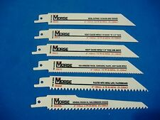 SIX MORSE HIGH QUALITY BI-METAL COBALT RECIPROCATING SAW BLADES MADE IN USA
