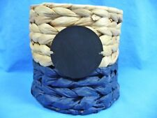 Water Hyacinths Round Basket Brown And Blue With Black Disc On Front