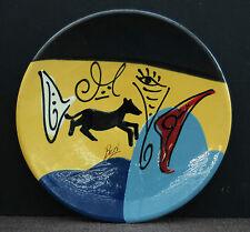 Keramik Wandteller Abstraktes Design mit Signatur Buxi - Handgefertigt !