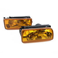 For 1992-1998 BMW E36 M3 Chrome Fog Lights Replacement Lamps Yellow Lens